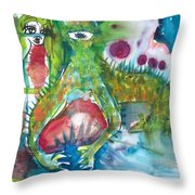 the WEDDING of the RABBITS Throw Pillow