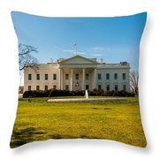 The White House In Washington Dc With Beautiful Blue Sky Throw Pillow