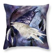 The White Raven Throw Pillow by Carol Cavalaris