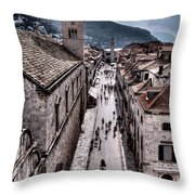 The White Tower In The Stradun From The Ramparts Throw Pillow