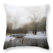 The Willows In Winter - Newtown Square Pa Throw Pillow