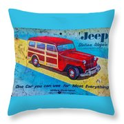 The Willys - Overland Jeep Station Wagon Throw Pillow