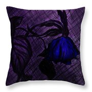 The Wilted Blue Rose Throw Pillow