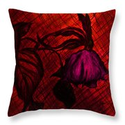 The Wilted Pink Rose Throw Pillow