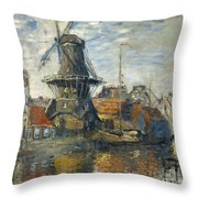 The Windmill On The Onbekende Gracht Amsterdam Throw Pillow
