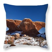 The Windows In Snow Arches National Park Utah Throw Pillow