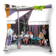 The Wine Bar In Paris Throw Pillow