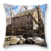 The Wissahickon Creek And Mather Mill Throw Pillow