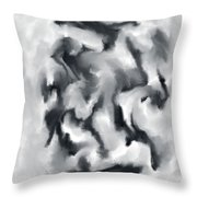 The Witch With Her Crows Charcoal Wash Throw Pillow