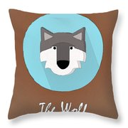 The Wolf Cute Portrait Throw Pillow