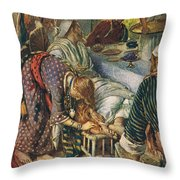 The Woman With The Box Of Ointment Throw Pillow by Harold Copping