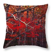 The Woods Aflame In Red Throw Pillow