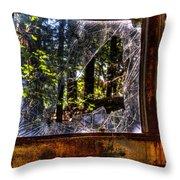 The Woods Through A School Bus Window Throw Pillow