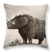 The Woolly Rhinoceros Is An Extinct Throw Pillow by Philip Brownlow