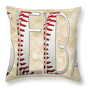 The Word Is Baseball Throw Pillow by Andee Design