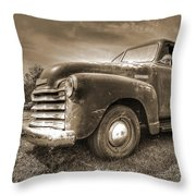The Workhorse In Sepia - 1953 Chevy Truck Throw Pillow