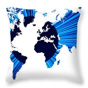 The World Map And Globe Throw Pillow
