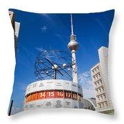 The Worldtime Clock Alexanderplatz Berlin Germany Throw Pillow