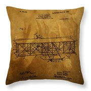 The Wright Brothers Airplane Patent Throw Pillow