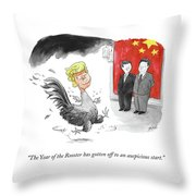 The Year Of The Rooster Throw Pillow