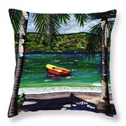 The Yellow And Red Boat Throw Pillow