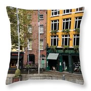The Yellow House At The Liffey River - Dublin - Ireland Throw Pillow