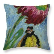 The Yellow Jacket Nymph Waiting Under A Cornflower.  Throw Pillow