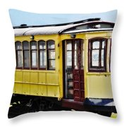 The Yellow Trolley Car Throw Pillow