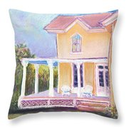 The Yellow Victorian By The Sea Throw Pillow