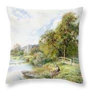 The Young Angler Throw Pillow