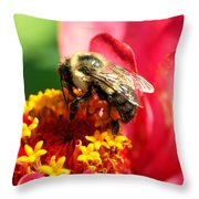 The Zinnia And The Bee Throw Pillow
