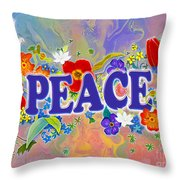 Themes Of The Heart-peace Throw Pillow