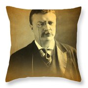 Theodore Teddy Roosevelt Portrait And Signature Throw Pillow