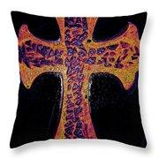Thermal Cracked Glass Cross Light 2 Dark Throw Pillow by Lisa Brandel