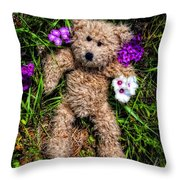 These Are For You - Cute Teddy Bear Art By William Patrick And Sharon Cummings Throw Pillow