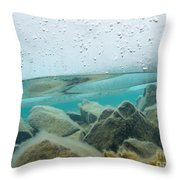 Thick Ice Sheet Underwater Over Rocky Lake Bottom Throw Pillow