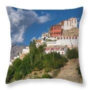 Thiksay Monastery Ladakh Jammu And Kashmir India Throw Pillow