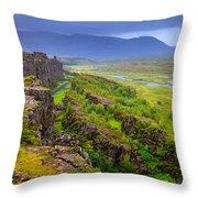 Thingvellir National Park Rift Valley Throw Pillow