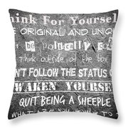 Think For Yourself - Graffiti Art Throw Pillow by Absinthe Art By Michelle LeAnn Scott