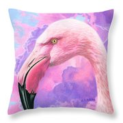 Think Pink Flamingo Throw Pillow