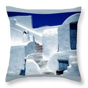 Thirasia Island Ancient House Near Santorini Greece Throw Pillow