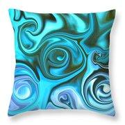 Turquoise  - Satin Swirls Throw Pillow