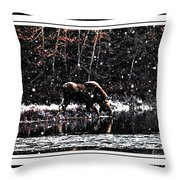 Thirsty Moose Impressionistic Painting With Borders Throw Pillow