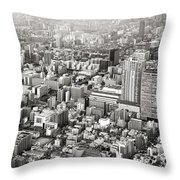 This Is Tokyo In Black And White Throw Pillow