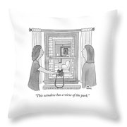 This Window Has A View Of The Park Throw Pillow