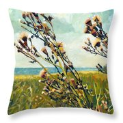 Thistles On The Beach - Oil Throw Pillow by Michelle Calkins