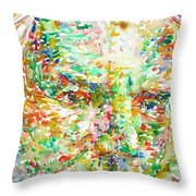 Thomas Bernhard Watercolor Portrait Throw Pillow