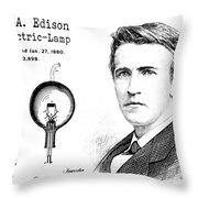 1880 Thomas Edison Electric Lamp Patent Art 2 Throw Pillow