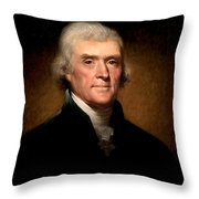 Thomas Jefferson By Rembrandt Peale Throw Pillow
