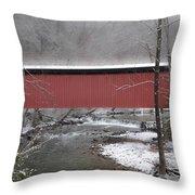 Thomas Mill Covered Bridge Along The Wintery Wissahickon Throw Pillow